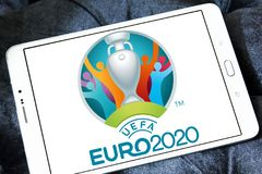 UEFA Euro 2020 logo. Logo of UEFA Euro 2020 on samsung tablet. The 2020 UEFA European Football Championship is scheduled to be the 16th edition of the UEFA Stock Photos
