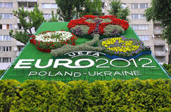 Logo of UEFA EURO 2012 tournament made from flowers Stock Image