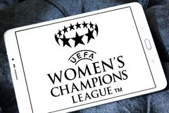 UEFA Women`s Champions League logo. Logo of UEFA Women`s Champions League on samsung tablet. it is an international women`s association football competition Royalty Free Stock Photo
