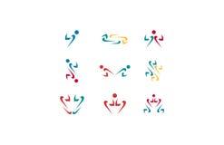 Logo umano della freccia, infinito della freccia, la gente della freccia, logo del cuore della freccia, logo della freccia di s Fotografia Stock Libera da Diritti