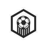 Logo-und Fußball-Ausweis-Vektor Lizenzfreie Stockfotos