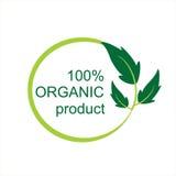 Logo und Symbol des biologischen Lebensmittels des Vektors 100% Lizenzfreie Stockbilder