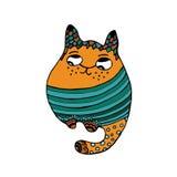Logo und Visitenkarteschablone Stammes- stilisierte Katze Zentangle Lizenzfreie Stockbilder