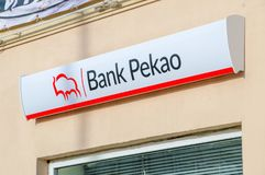 Logo und Zeichen Bank Pekao Lizenzfreies Stockfoto