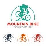 Logo unico dell'illustrazione del mountain bike illustrazione vettoriale