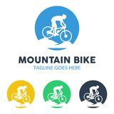 Logo unico dell'illustrazione del mountain bike Fotografia Stock