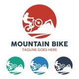 Logo unico dell'illustrazione del mountain bike illustrazione di stock