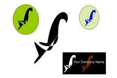 Logo unico dell'uccello con fondo bianco Fotografie Stock Libere da Diritti