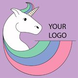 Logo with a unicorn for your company. Pegasus Icon. Color illustration. Logo with a unicorn for your company. Pegasus Icon. Vector flat illustration Stock Images