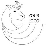 Logo with a unicorn for your company. Pegasus Icon. Contour illustration. Logo with a unicorn for your company. Pegasus Icon. Vector contour illustration Royalty Free Stock Images