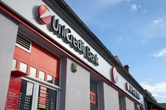Logo of the UniCredit Srbija Bank on their main agency for the suburb of Zemun. Unicredit is an Italian bank spread in Europe. Picture of a of the Unicredit sign stock images
