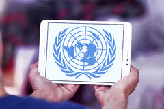 United Nations , UN logo emblem Stock Photos
