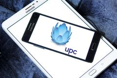 UPC Broadband logo. Logo of UPC Broadband on samsung mobile. UPC Broadband is a pan-European telecommunications company owned by Liberty Global and is active in royalty free stock photography