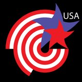 Logo USA. Designed using elements of the American flag stock illustration