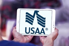 USAA company logo. Logo of USAA company on samsung tablet . The United Services Automobile Association, USAA is a Texas-based Fortune 500 diversified financial Royalty Free Stock Photography