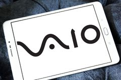 VAIO Corporation logo. Logo of VAIO Corporation on samsung tablet. VAIO Corporation is a manufacturer of personal computers Stock Images