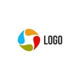 Logo variopinto astratto isolato del cerchio di gocce Logotype liquido di circolazione Scherza l'icona della scuola di arte, segn royalty illustrazione gratis
