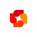 Logo variopinto astratto isolato delle foglie su fondo bianco Logotype di autunno Elemento dell'albero Icona trasversale insolita Fotografia Stock
