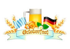 Logo variopinto per le cartoline e saluti con Oktoberfest Immagini Stock