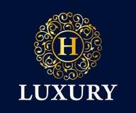 Logo Vector Design reale ed elegante del lusso, bello modello Fotografia Stock