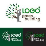 Logo vector green building organic natural emblem and design template - ecology concept or natural tower with leaves vector illustration