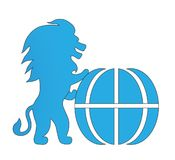 Logo vector symbol power lion. Stands on hind legs and globe blue silhouette isolate on white background Stock Photo