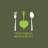 Logo for vegetarian restaurants or cafes. Cutlery: fork and spoo Stock Image