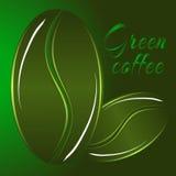 Logo verde dei semi del caffè due Immagini Stock