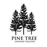 Logo verde della foresta della siluetta del pino illustrazione di stock