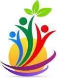 Logo verde di benessere della gente di cura royalty illustrazione gratis