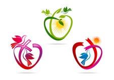 Logo vert de coeur, ruban de forme d'amour avec le symbole de colombe, icône sacrée de chant religieux de pigeon, concept de cons Image stock