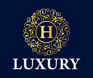 Logo Vetora Design do luxo, o real e o elegante, molde bonito Fotografia de Stock