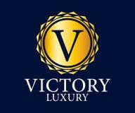 Logo Vetora Design do luxo, o real e o elegante, molde bonito Fotografia de Stock Royalty Free