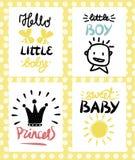 Logo vier Kind s mit Handschrift Hallo kleiner Baby Princecc-Bonbon-Junge lizenzfreie abbildung