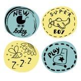 Logo vier Kind s mit Handschrift Neues Baby, Superjunge, Spiel stock abbildung