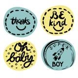 Logo vier Kind s mit Handschrift Seien Sie nett Superjunge Danke Oh Baby lizenzfreie abbildung