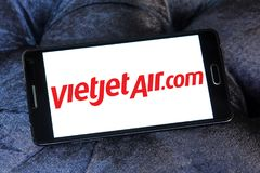 VietJet Air logo. Logo of VietJet Air on samsung mobile. VietJet Air or Vietjet, is an international low cost airline from Vietnam royalty free stock images