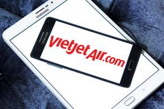 VietJet Air logo. Logo of VietJet Air on samsung mobile. VietJet Air or Vietjet, is an international low cost airline from Vietnam royalty free stock photos