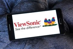 ViewSonic company logo. Logo of ViewSonic on samsung mobile. ViewSonic Corporation is a manufacturer and provider of visual technology, specifically liquid royalty free stock image