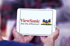 ViewSonic company logo. Logo of ViewSonic on samsung tablet . ViewSonic Corporation is a manufacturer and provider of visual technology, specifically liquid royalty free stock images