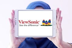 ViewSonic company logo. Logo of ViewSonic on samsung tablet holded by arab muslim woman. ViewSonic Corporation is a manufacturer and provider of visual royalty free stock photos