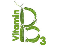 Vitamin B3 and peas. Funny green logo of vitamin B3 of peas Royalty Free Stock Images