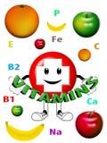 Logo vitamins with fruits Stock Photo