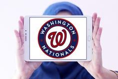 Washington Nationals baseball team logo. Logo of Washington Nationals baseball team on samsung tablet holded by arab muslim woman. The Washington Nationals are a Royalty Free Stock Image
