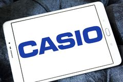 Casio watchmaker logo. Logo of watchmaker company casio on samsung tablet Stock Photo