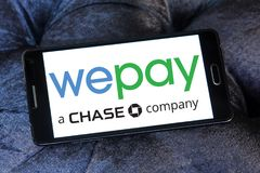 WePay payment system logo. Logo of WePay payment company on samsung mobile. WePay is an online payment service provider based in the United States that provides Stock Images