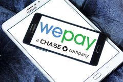 WePay payment system logo. Logo of WePay payment company on samsung mobile. WePay is an online payment service provider based in the United States that provides Royalty Free Stock Photo