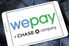 WePay payment system logo. Logo of WePay payment company on samsung tablet. WePay is an online payment service provider based in the United States that provides Royalty Free Stock Photo