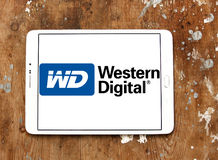 Western Digital Corporation logo. Logo of Western Digital Corporation on samsung tablet on wooden background. Western Digital Corporation is an American computer stock photography