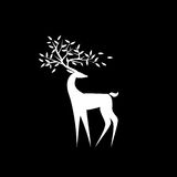 Logo white deer. Logo white  deer on a black background with the leaves on the horns Royalty Free Stock Photos